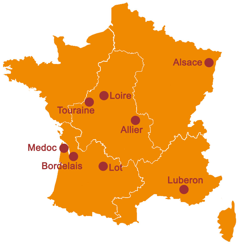 RIDE IN FRANCE - Map of gastronomic rides