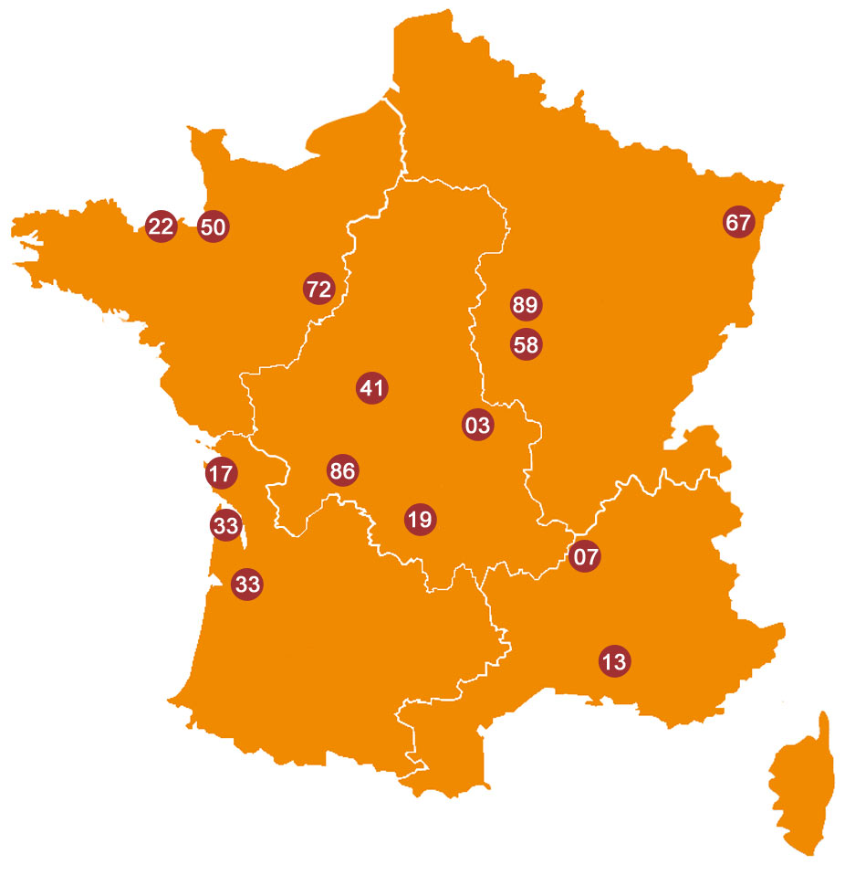 RIDE IN FRANCE - Weekends map