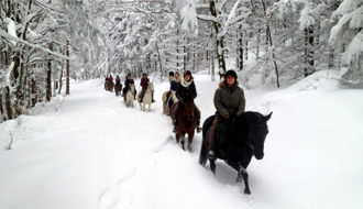 Horse riding tours in the snow - Ride in France