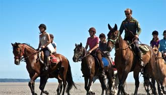 Horseback rides in Mont Saint Michel Bay (St Michael's Mount) between Brittany and Normandy - Ride in France