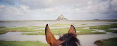 RIDE IN FRANCE - The Mont Saint Michel between my horse's ears